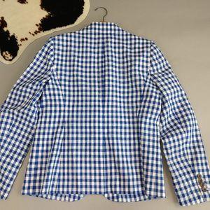J. Crew Jackets & Coats - J Crew NEW Campbell Blazer white/blue gingham